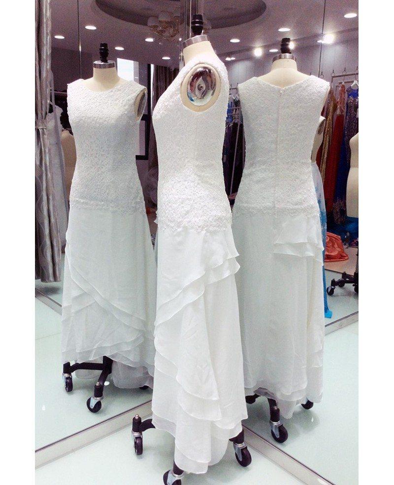 Elegant Wedding Gowns For Older Brides: Elegant Ivory Lace Chiffon Ankle Length Older Brides