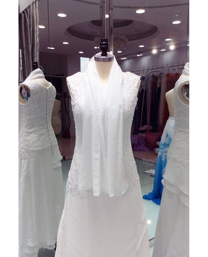 Wedding Gowns For The Mature Bride: Elegant Ivory Lace Chiffon Ankle Length Older Brides