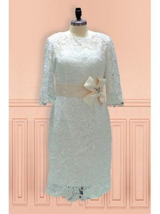 Elegant Sheath High Neck Knee Length Lace Wedding Dress With Lace Sleeves