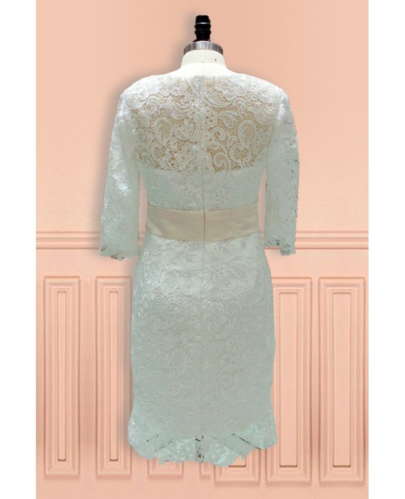 Elegant sheath high neck knee length lace wedding dress for Knee length wedding dresses with sleeves