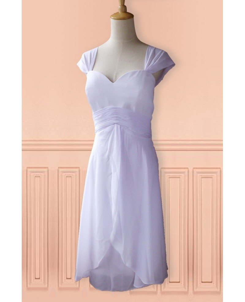 Simple 2nd Wedding Ideas: Simple White Cap Sleeve Chiffon Tea Length Wedding Dress