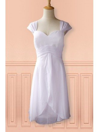 Simple White Cap Sleeve Chiffon Tea Length Wedding Dress Second Dress For Summer