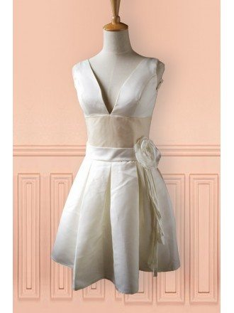 Champagne Satin Deep V-neck Short Wedding Dress Second Dress For Weddings