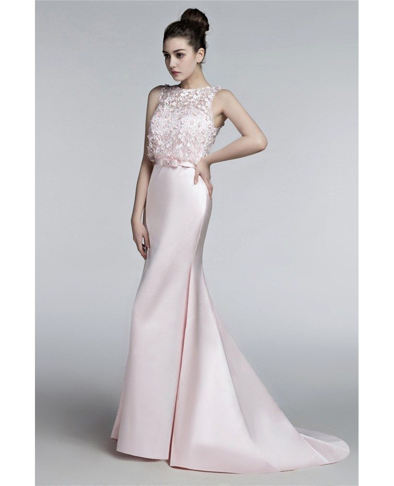 Blush Pink Tight Trumpet Wedding Dress With Sheer Lace Top
