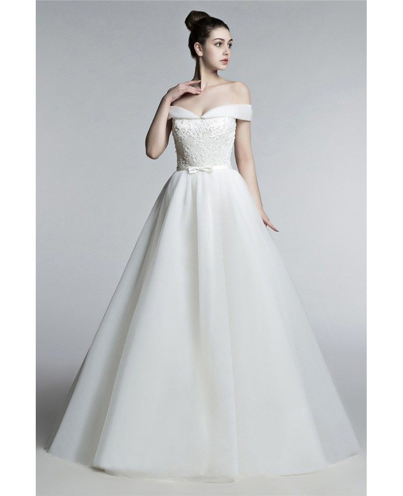 Off Shoulder Princess Wedding Dress Ball Gown With Lace Beading ...