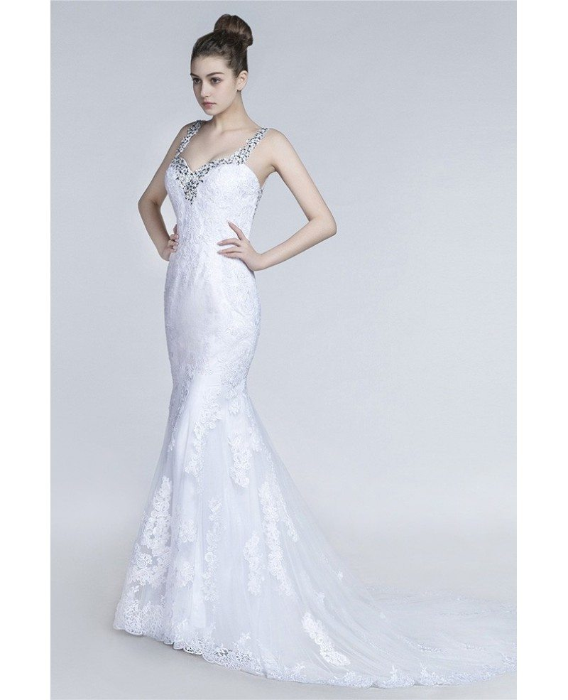 beautiful fitted trumpet wedding dress with beading lace