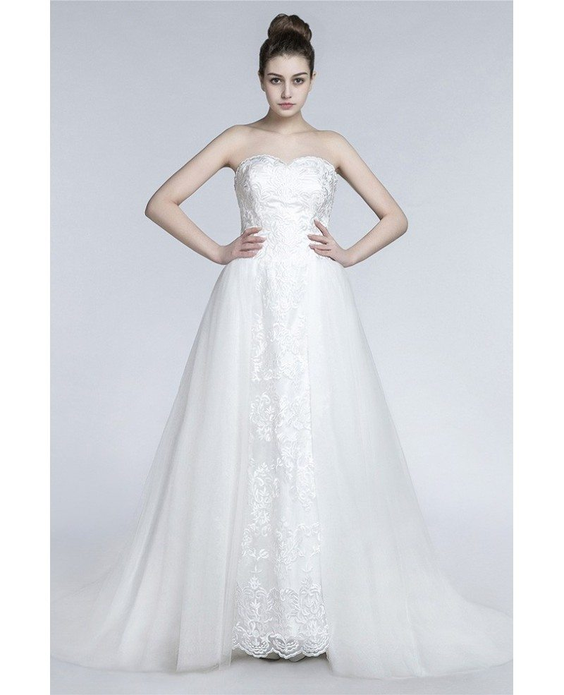 Princess Long A Line Wedding Dress Strapless Trained With Tulle Wrap ...
