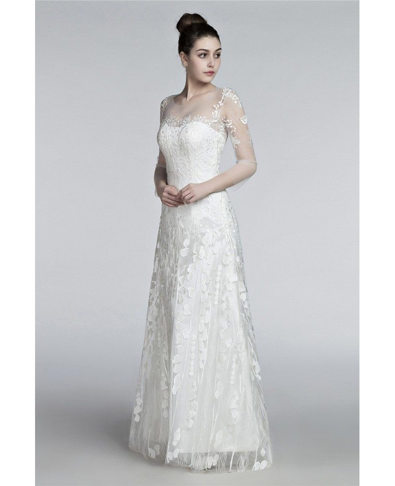 Romantic Flowing Lace Beach Wedding Dresses With Sleeves ...