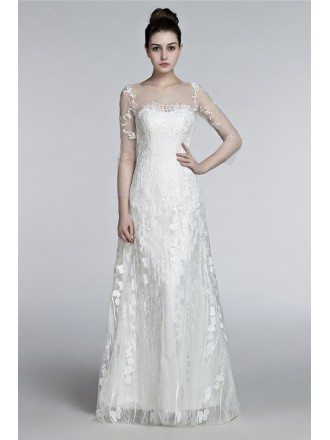 Romantic Flowing Lace Beach Wedding Dresses With Sleeves Destination