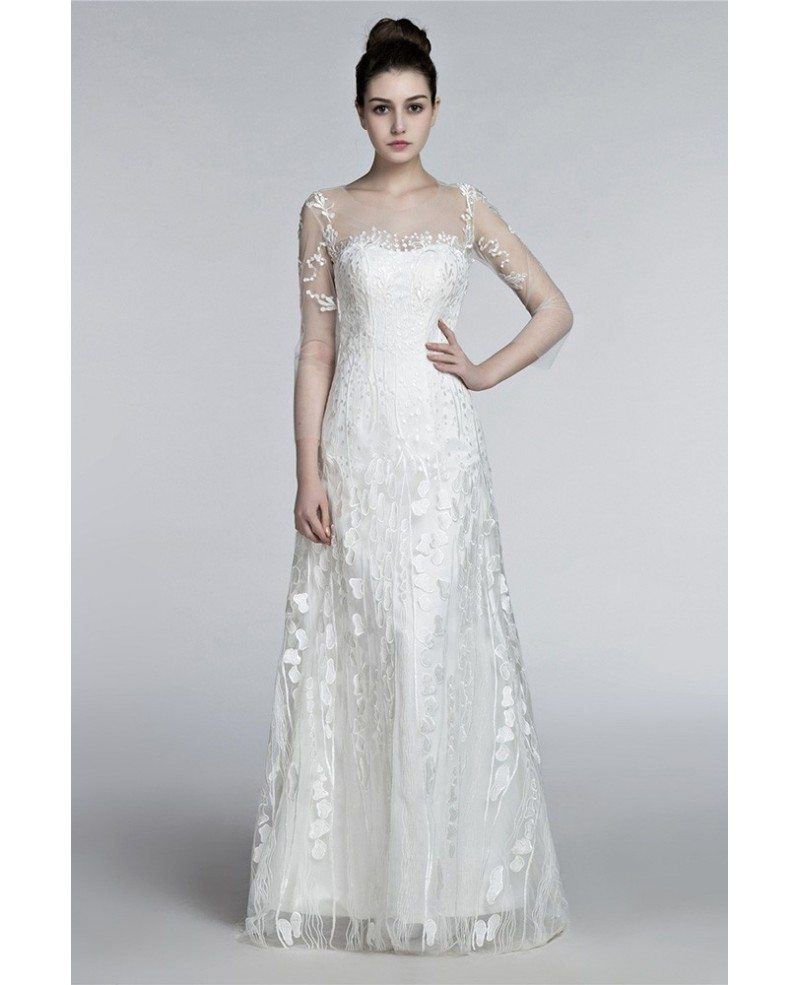 Romantic Flowing Lace Beach Wedding Dresses With Sleeves Destination ...