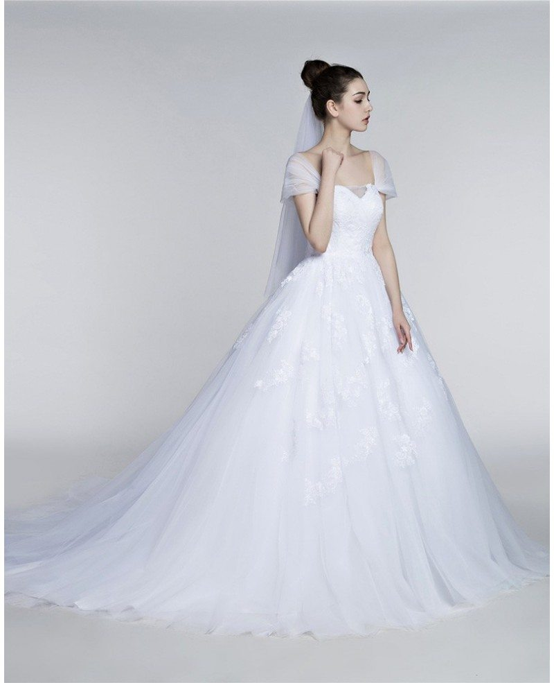 Wedding Gowns With Cap Sleeves: Full Figured Tulle Ballroom Wedding Gowns With Cap Sleeves