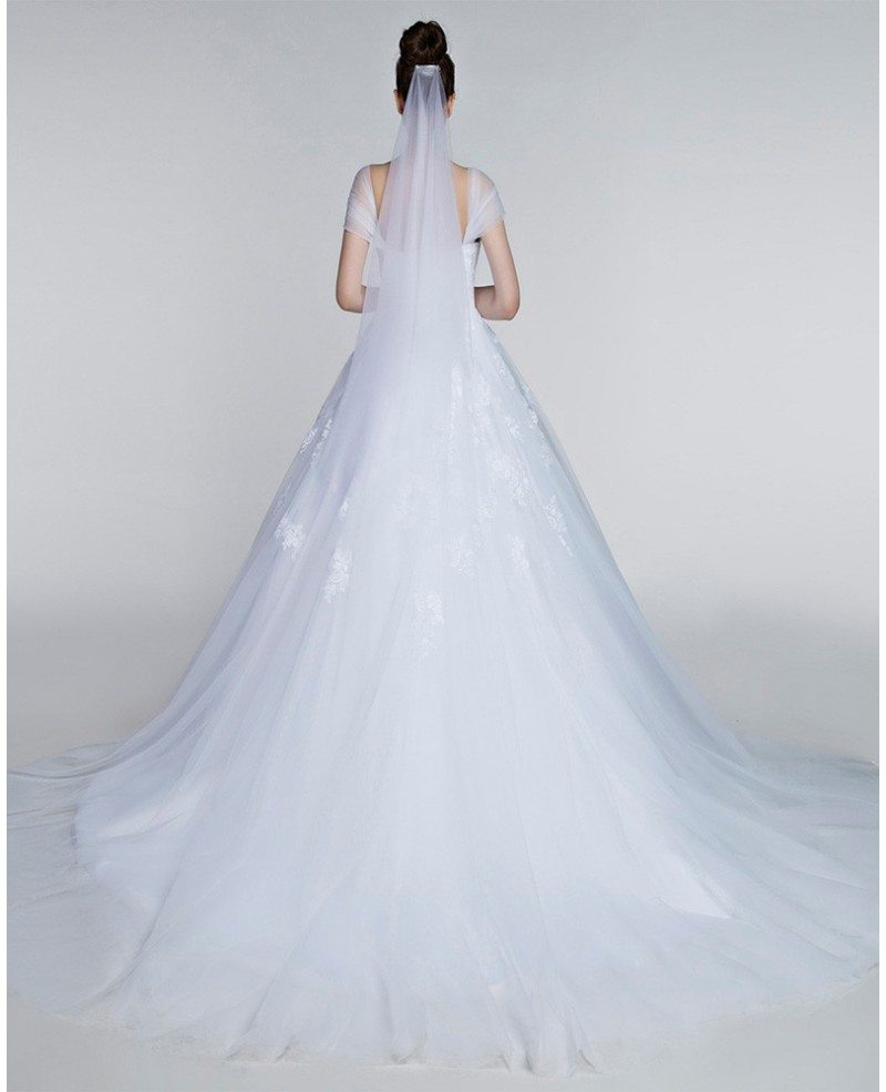 Ballroom Gown Wedding Dresses: Full Figured Tulle Ballroom Wedding Gowns With Cap Sleeves