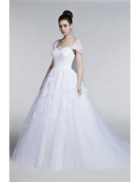 Full figured tulle ballroom wedding gowns with cap sleeves for Wedding dresses for larger figures