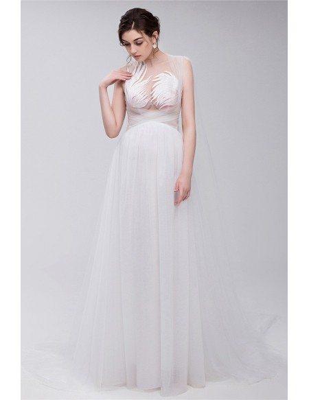 GRACE LOVE Simple All Tulle Boho Beach Bridal Dress For Destination Weddings