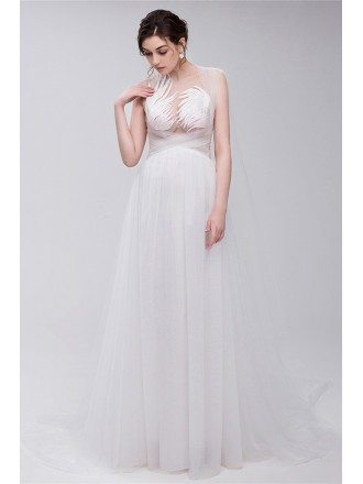 Simple All Tulle Boho Beach Bridal Dress For Destination Weddings