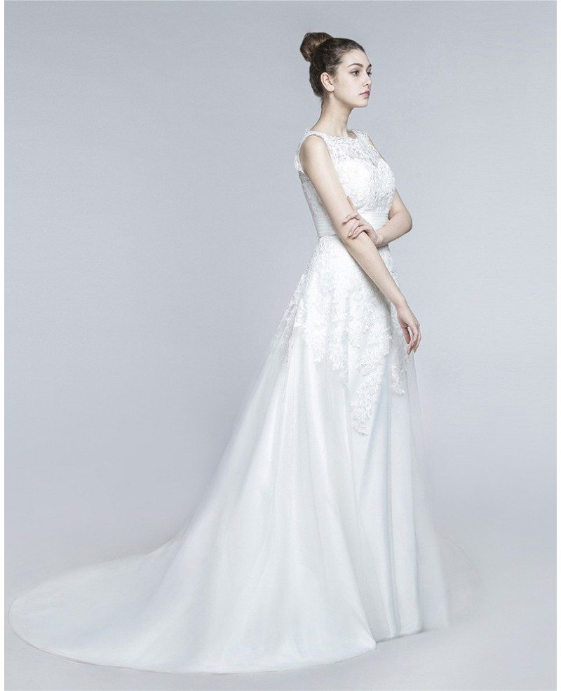 Modest short lace beach bridal dress for summer wedding for Modest dresses to wear to a wedding