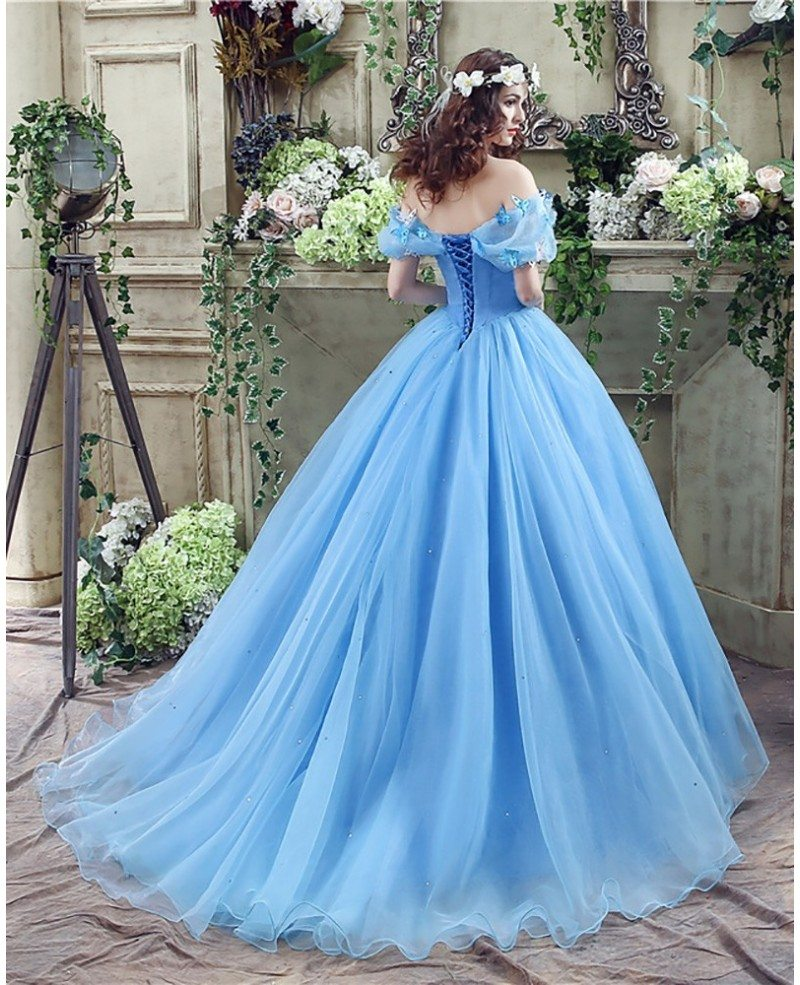 Non Traditional Floral Wedding Dresses: Non Traditional Blue Cinderella Princess Bridal Gowns With