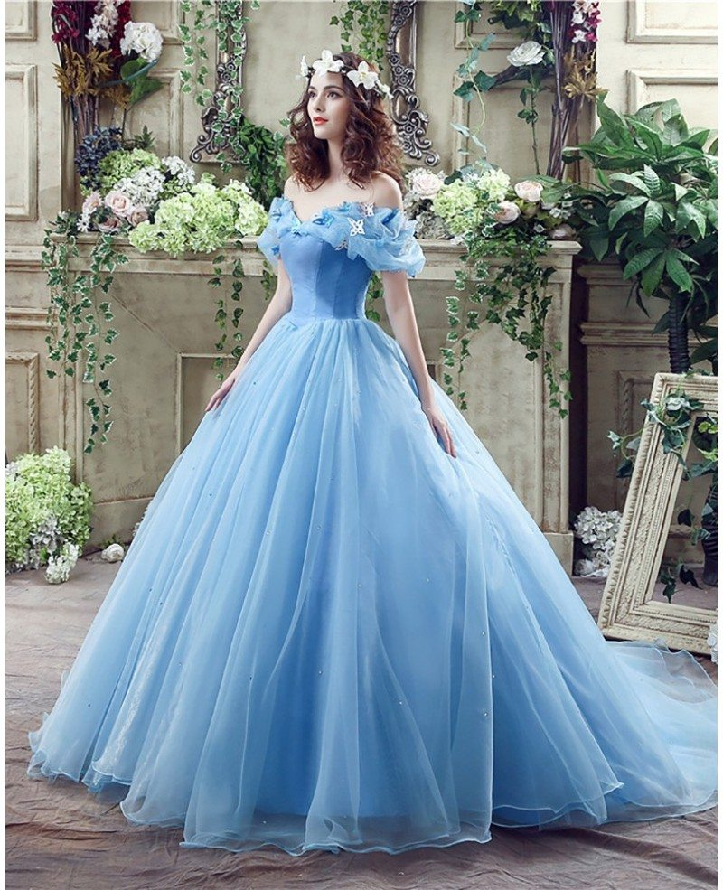 Cinderella Wedding: Non Traditional Blue Cinderella Princess Bridal Gowns With