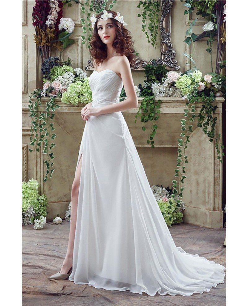 Flowing Chiffon Boho Beach Wedding Dress With Slip Front