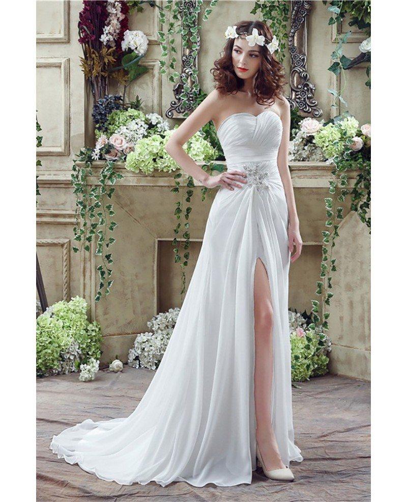 Flowing Wedding Gown: Flowing Chiffon Boho Beach Wedding Dress With Slip Front