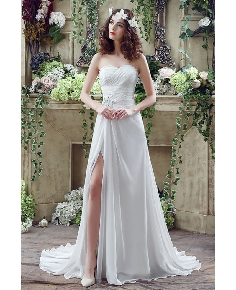 Flowing Chiffon Boho Beach Wedding Dress With Slip Front