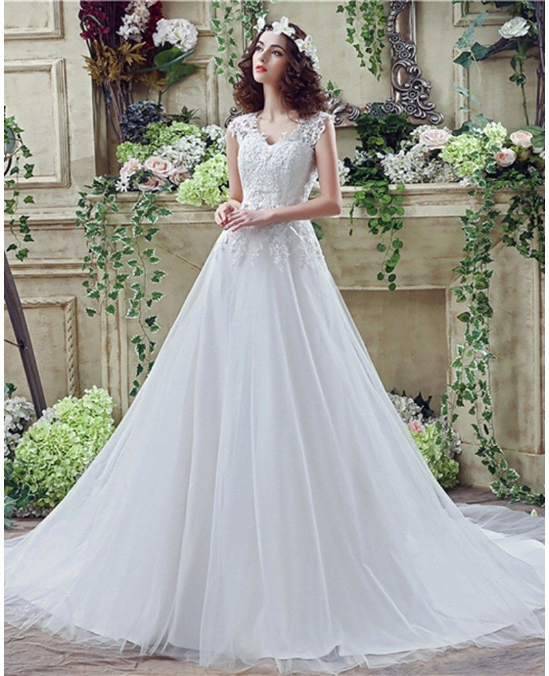 Vintage Long Tulle Wedding Dress With Lace Bodice Buttons Back ...
