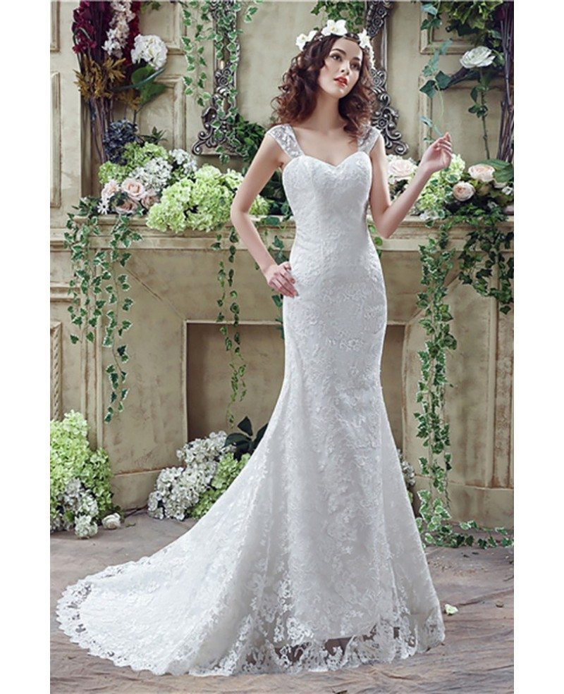 trumpet lace wedding dress princess fitted trumpet wedding dress all lace with straps 8089