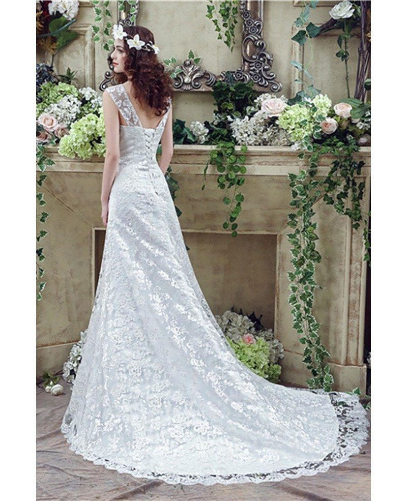 Wedding Dresess: Princess Fitted Trumpet Wedding Dress All Lace With Straps