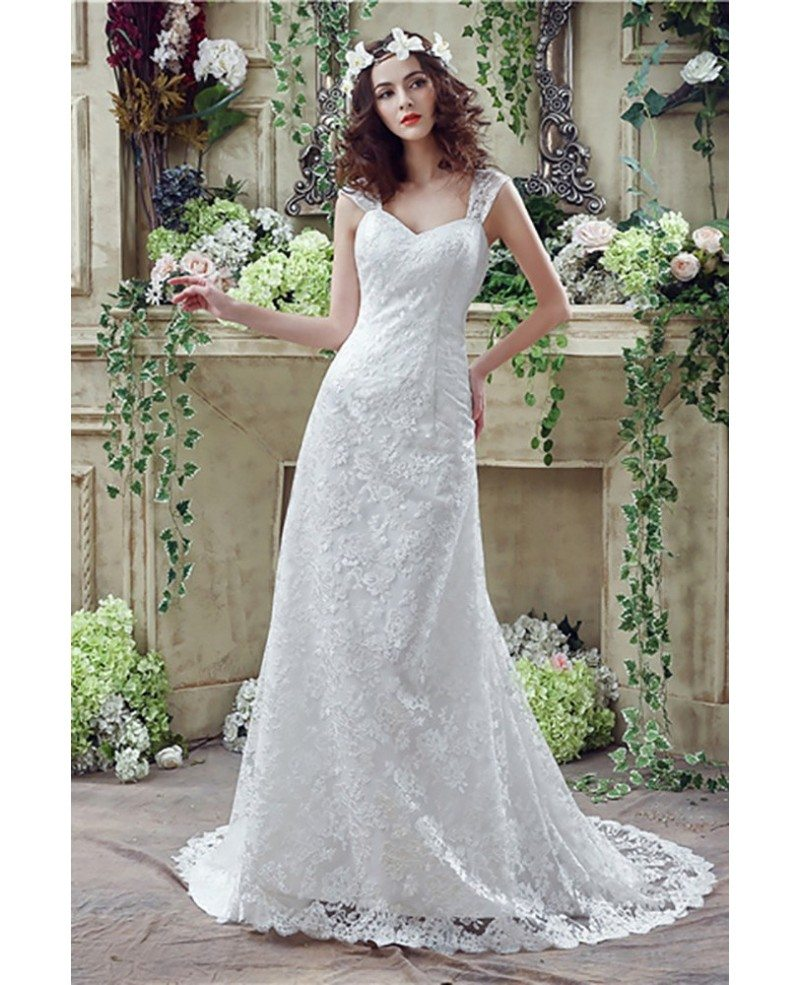 Wedding Dresses: Princess Fitted Trumpet Wedding Dress All Lace With Straps