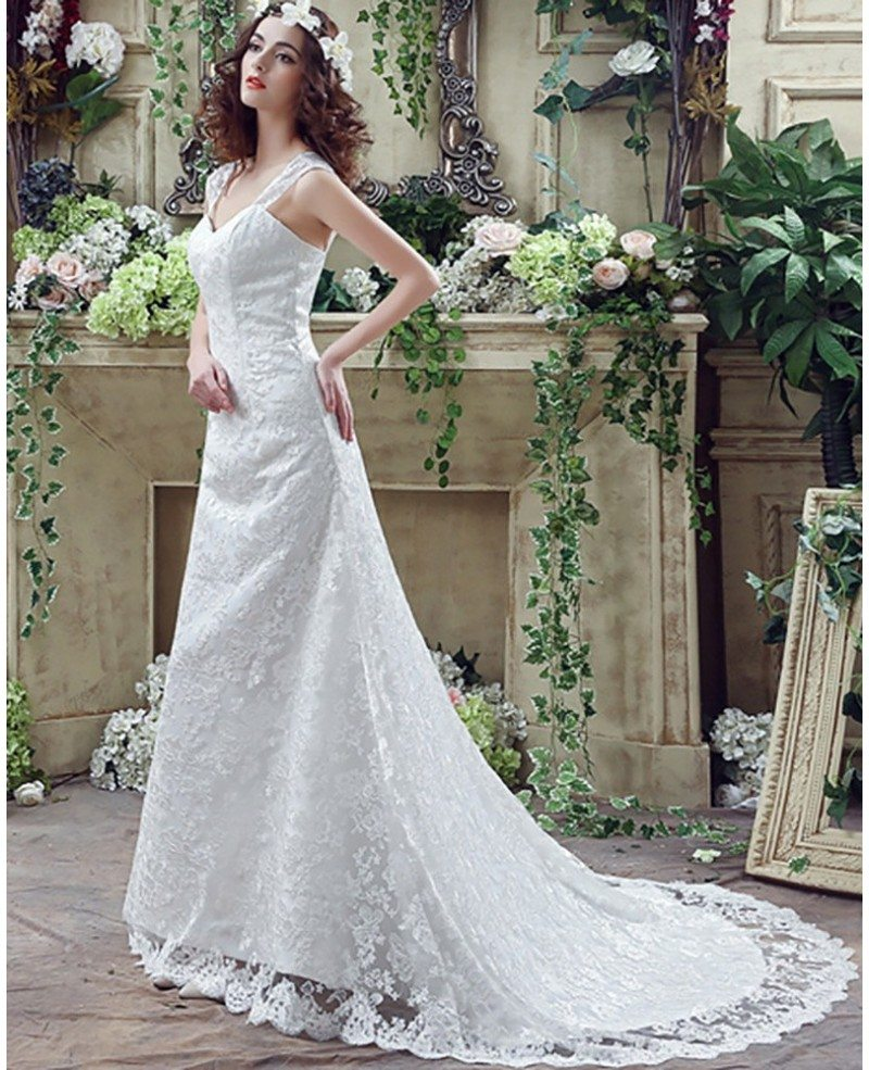 All Lace Wedding Dress: Princess Fitted Trumpet Wedding Dress All Lace With Straps