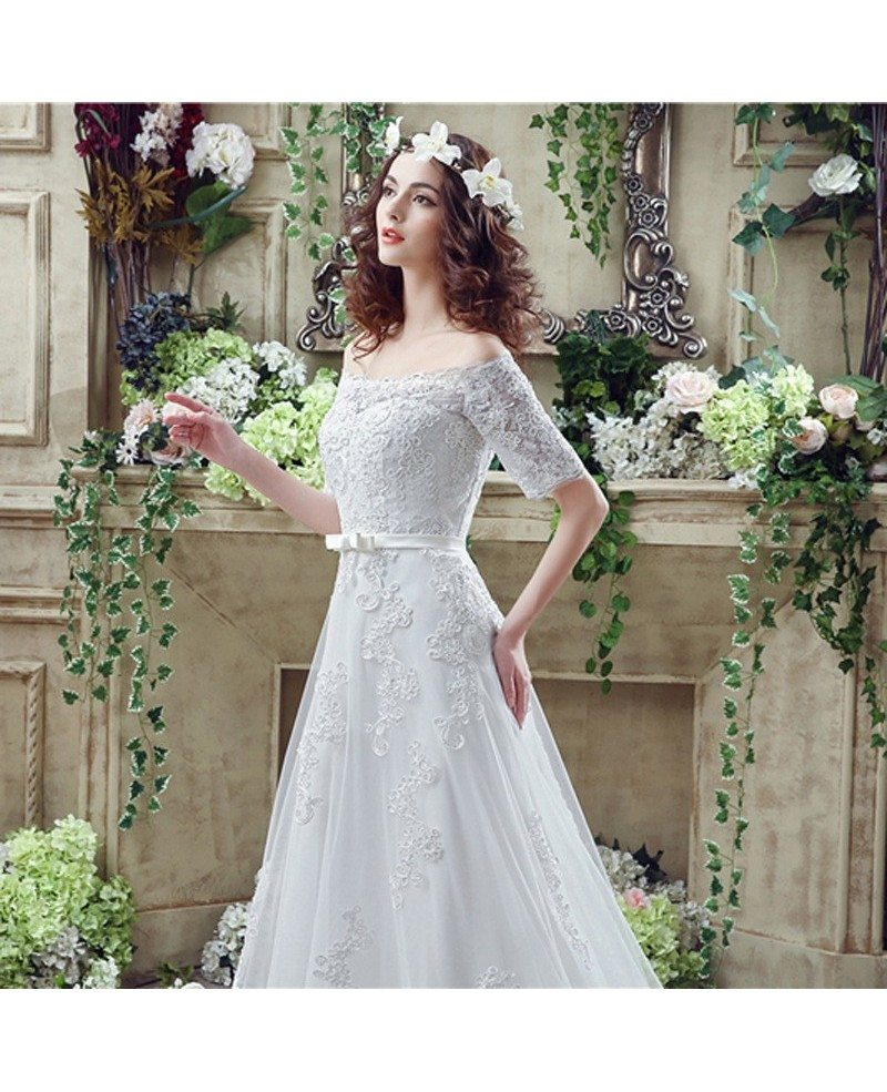 Cheap gorgeous princess lace wedding dress with off the for Cheap princess wedding dress