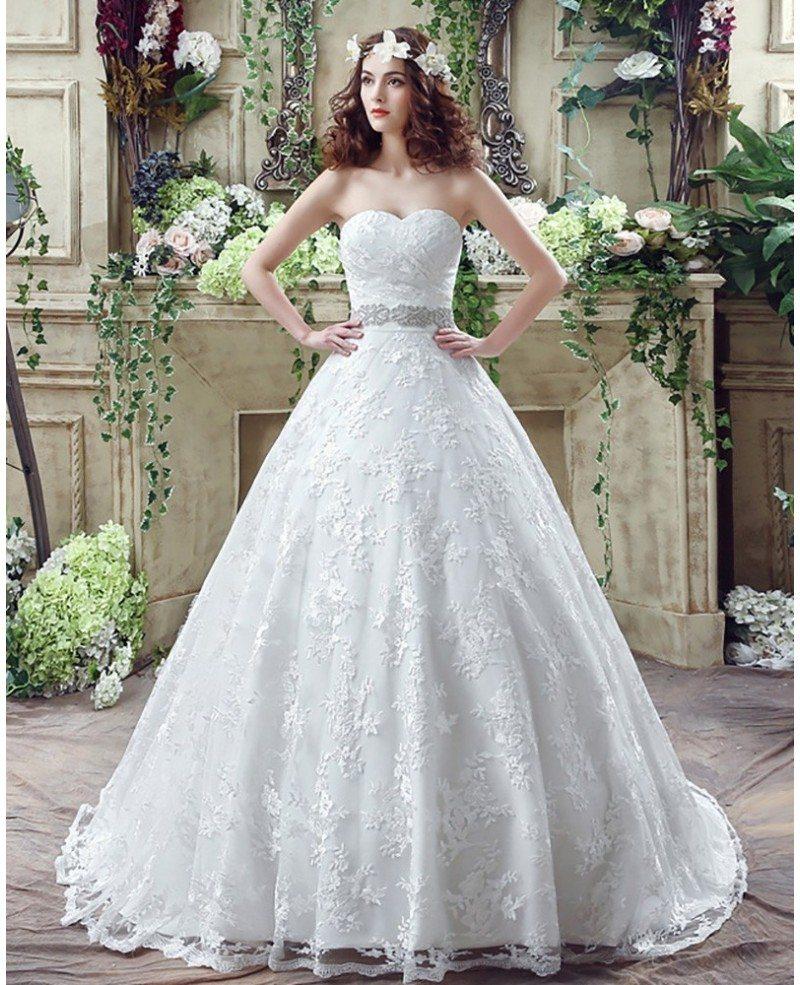 Cheap Ball Gown Wedding Dresses: Cheap Ball Gown Lace Wedding Dress With Waist Beading Ribbon #H76022
