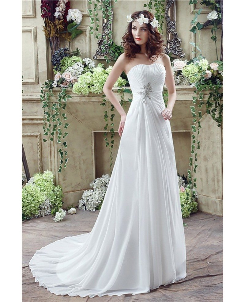 Simple Chiffon Summer Bridal Dress For Destination Weddings #H76023 - GemGrace.com