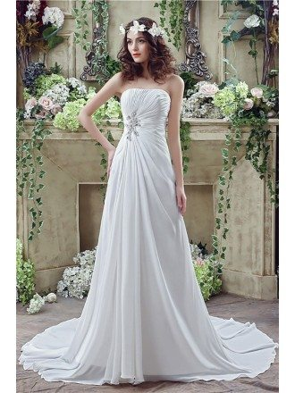 Simple Chiffon Summer Bridal Dress For Destination Weddings
