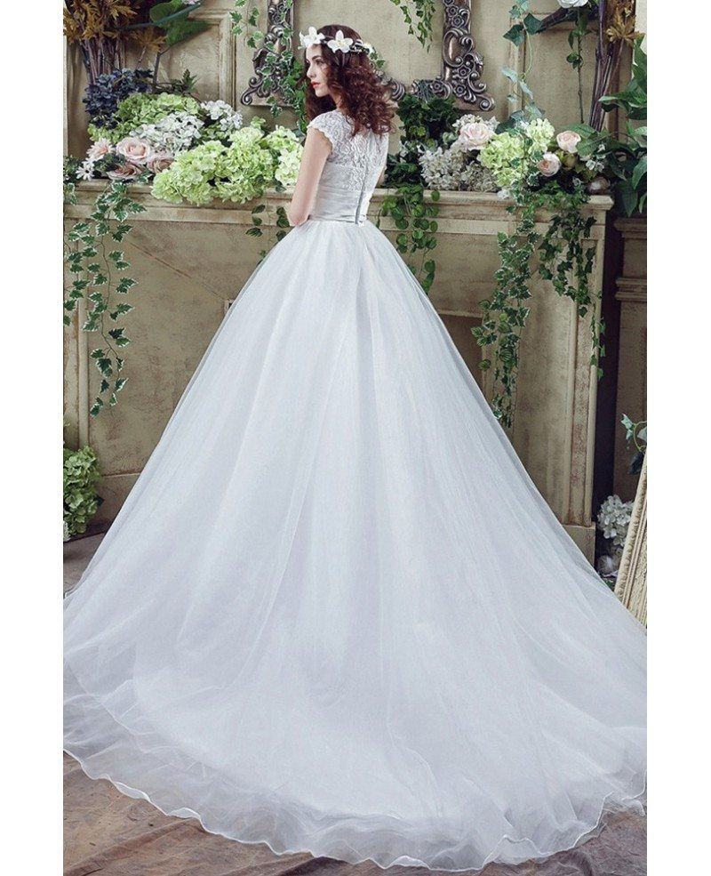 Modest Traditional Big Ballroom Wedding Dresses With Lace Top ...