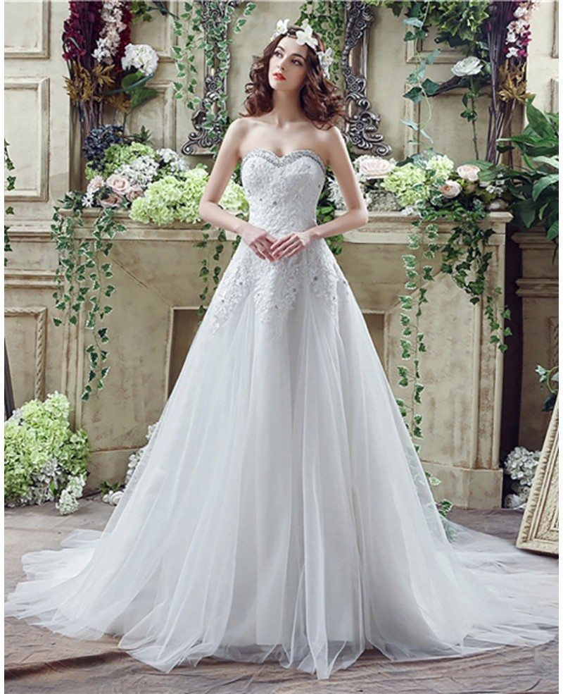 2018 princess tulle lace bridal dress with beaded sweetheart neckline h76025. Black Bedroom Furniture Sets. Home Design Ideas