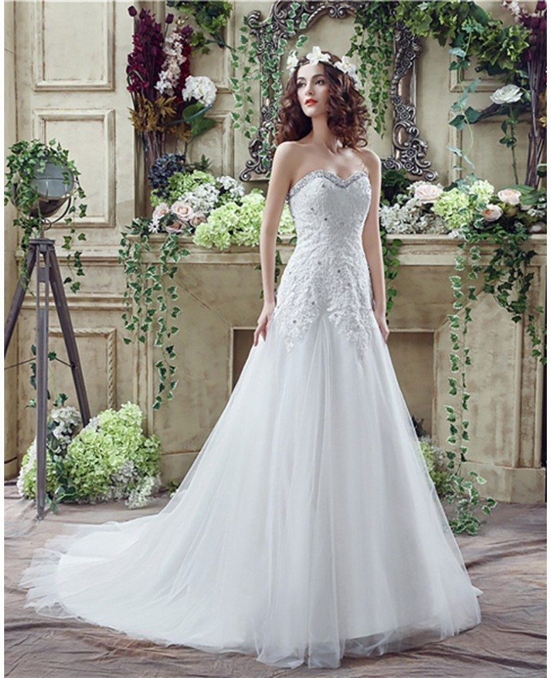 2018 Princess Tulle Lace Bridal Dress With Beaded