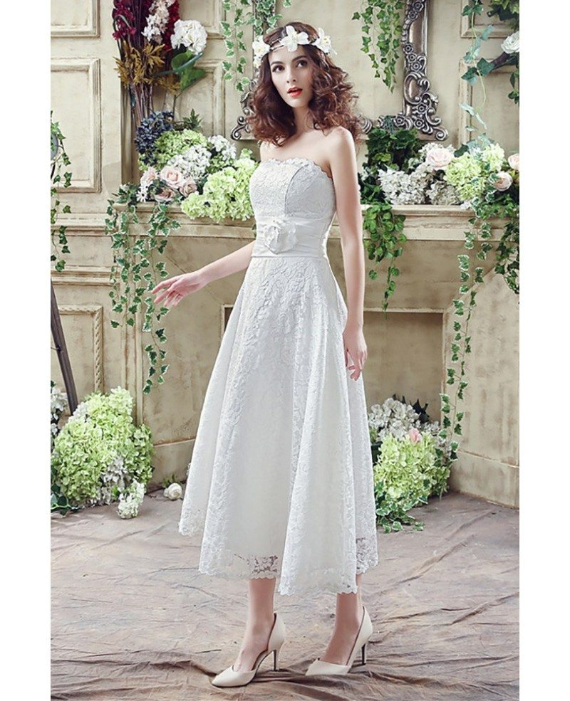 Strapless light lace beach wedding dress tea length for for Strapless summer wedding dresses