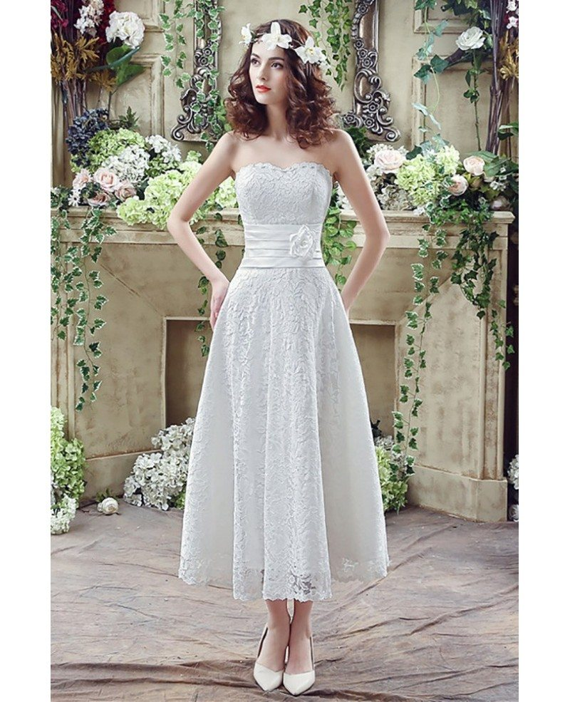 strapless light lace beach wedding dress tea length for