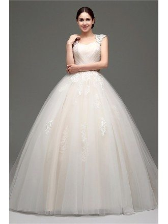 Casual Ballroom Champagne Bridal Gowns With Lace Cap Sleeves