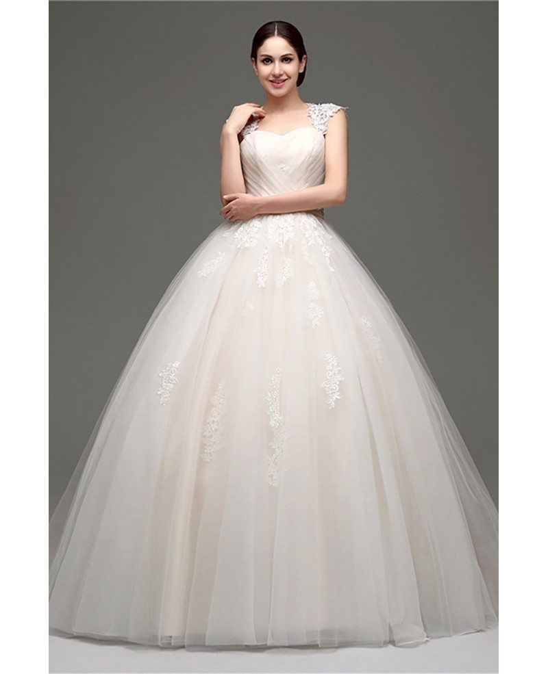 Wedding Gowns With Cap Sleeves: Casual Ballroom Champagne Bridal Gowns With Lace Cap