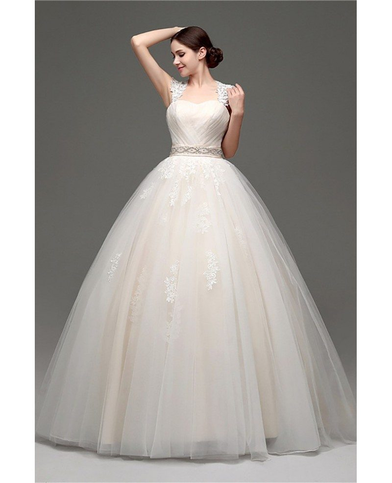 casual ballroom champagne bridal gowns with lace cap