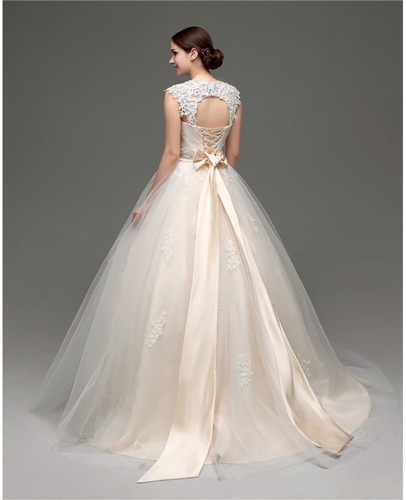 Bridal Gowns With Lace Cap Sleeves: Casual Ballroom Champagne Bridal Gowns With Lace Cap