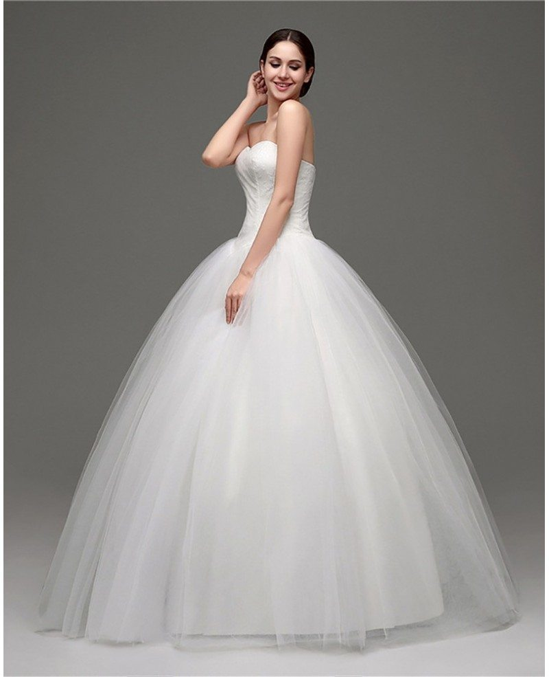 Cheap simple strapless ballroom bridal gowns for weddings for Simple strapless wedding dress