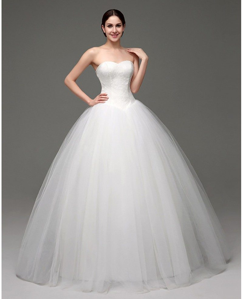 Discount Designer Wedding Gowns: Cheap Simple Strapless Ballroom Bridal Gowns For Weddings