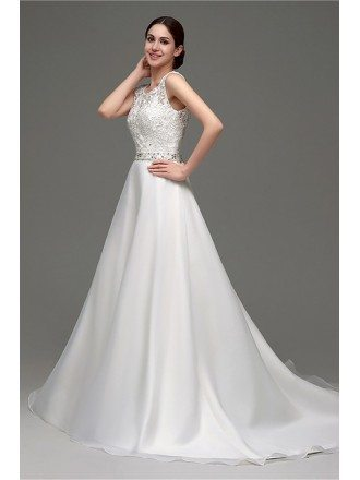 Cheap Gorgeous Backless Wedding Dress Beaded With Lace Bodice