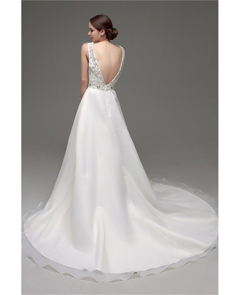 Backless Wedding Gowns For Sale: Cheap Gorgeous Backless Wedding Dress Beaded With Lace