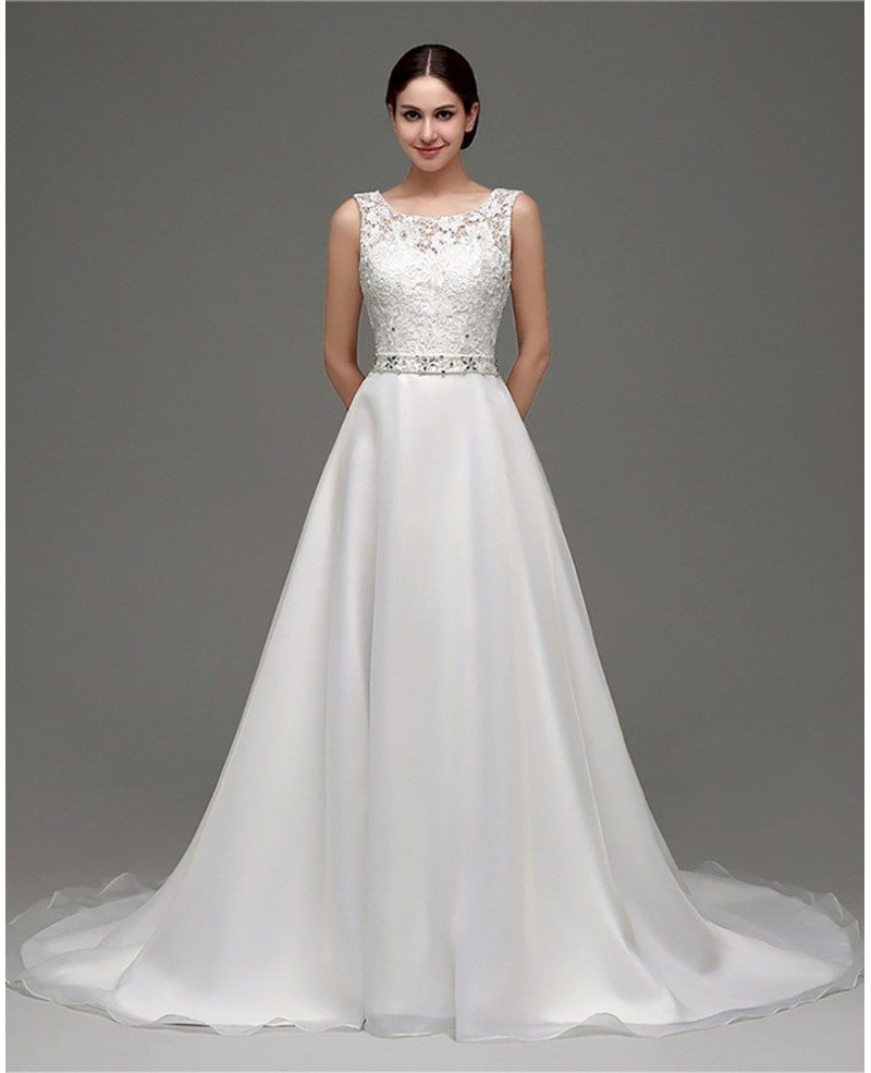 Cheap gorgeous backless wedding dress beaded with lace for Discount lace wedding dresses