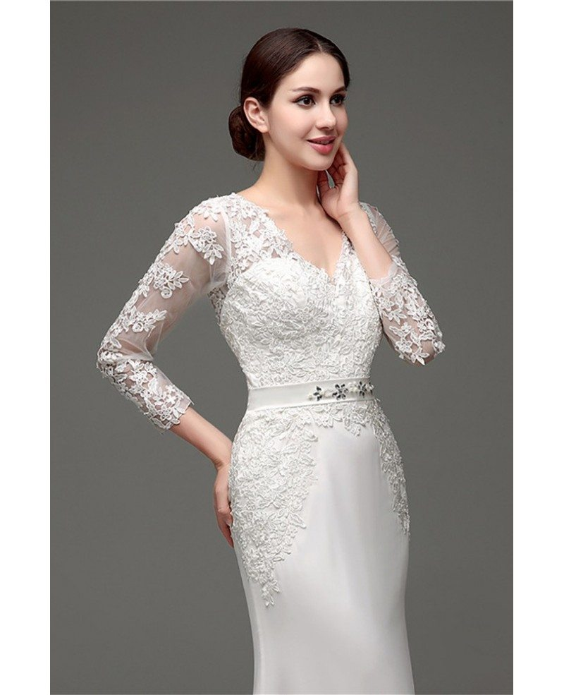 Cheap vintage v neck lace wedding dress fitted with 3 4 for 3 4 sleeve wedding guest dress
