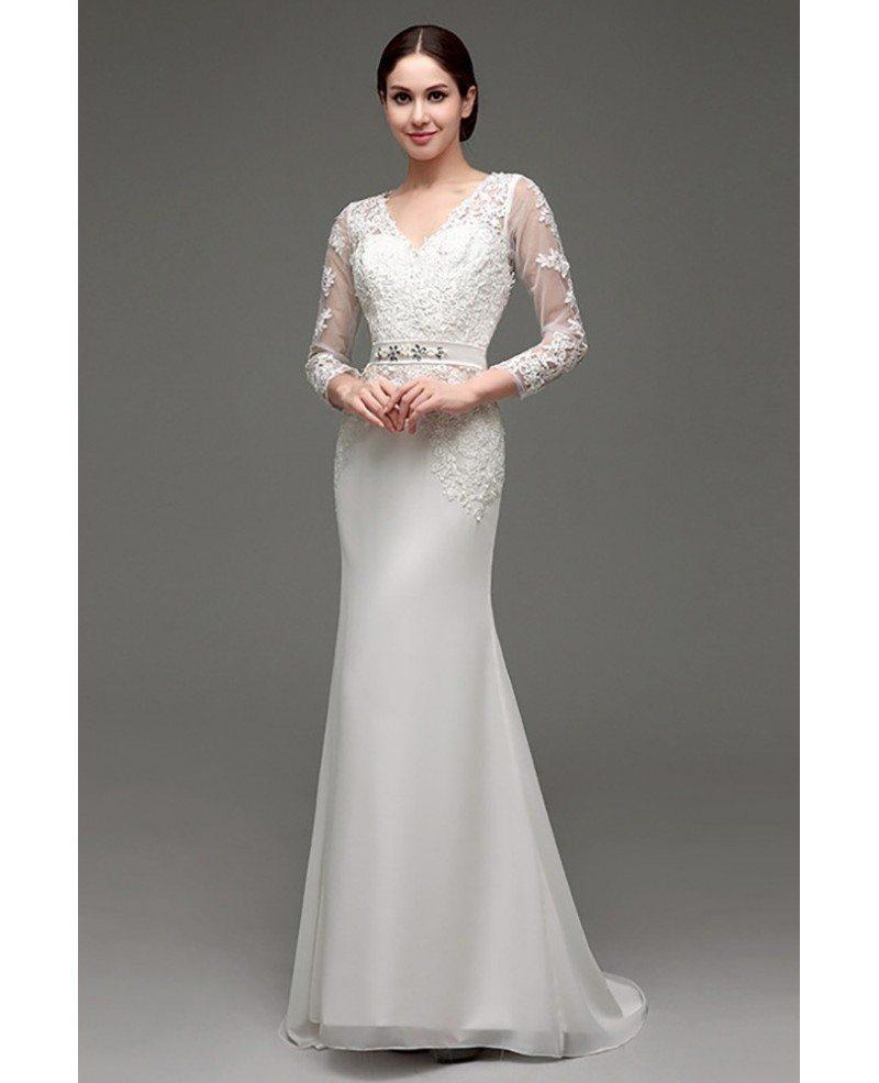 V Neck Lace Wedding Dresses: Cheap Vintage V Neck Lace Wedding Dress Fitted With 3/4
